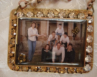 Photo Pendant Custom made with Etched Brass & Resin