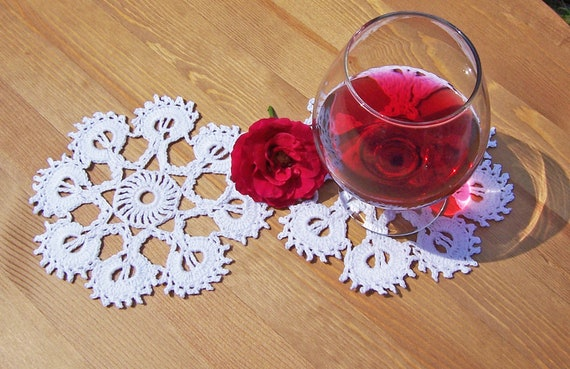 Crochet Snowflakes Coasters of 2, Drink Coasters , 2 Mini Hand Crocheted Doiles Set