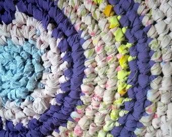 Artisan Crochet Rag Rug Cottage Shabby Chic Sweet Dreams Pink and Purple Textile Art Gypsy Round Nursery Dorm Pet Mat Eco Friendly