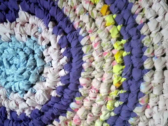 Artisan Crochet Rag Rug Cottage Shabby Chic Sweet Dreams Pink and Purple Textile Art Gypsy Round Nursery Dorm Pet Mat Eco Friendly