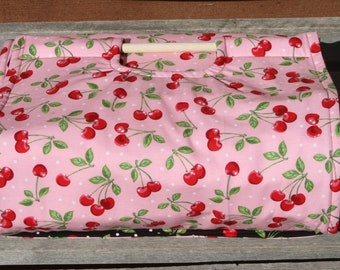 Insulated Casserole Carrier: Cherries on Pink, Personalization Available