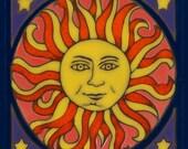 Ceramic tile, Sun, hot plate, wall decor, installation, backsplash, hand painted, kitchen tile, mosaic