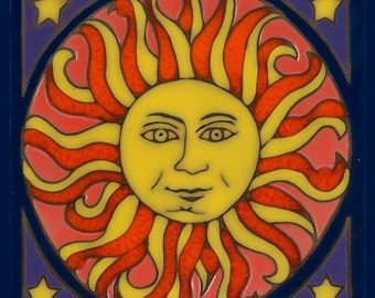 Ceramic tile, Sun, hot plate, wall decor, installation, backsplash, hand painted, kitchen tile, mosaic