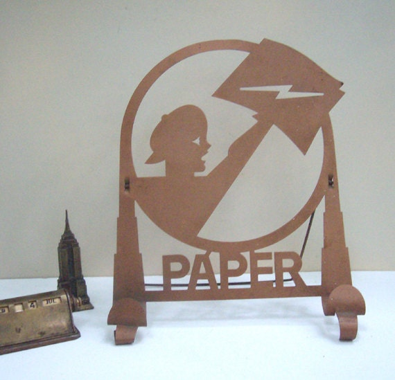 RESERVED for JAC Art Deco Vintage Newspaper Paperboy Rack Holder