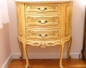 RESERVED...Vintage French Style Chest...Demilune...Marble Top...3 Drawers...Cabriole Legs...Floral Motif...Gorgeous