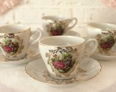 Set of 4 Cups & Saucers...Demitasse...Made in Japan...Victorian Style...Courting Couple