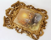 Ornate Gold Wall Frame...Vintage...Scenic Autumn Print...Burwood Products...Perfect for Mirror, Corkboard or Chalkboard...Wedding Frame