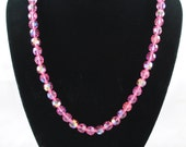 FREE SHIPPING 1950's 1950s Pink Aurora Borealis Faceted Swarovski Crystal Necklace Vintage Hollywood Glamour