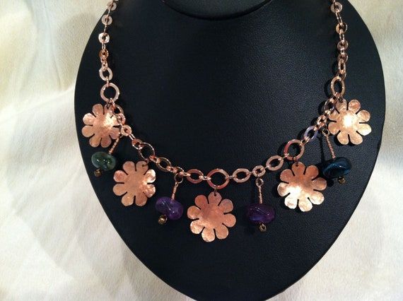 Hand Hammered Copper and Beaded Necklace