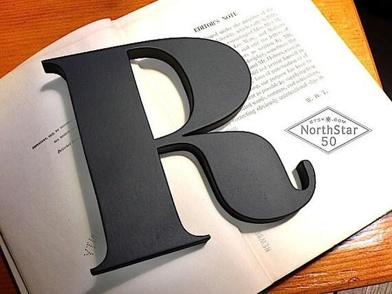 "Ornate Vintage Style Capital ""R"" Black - Wooden Letter"