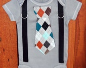 Grey Argyle Baby Boy Tie Bodysuit and Suspender Bodysuit. Fall, Winter, Childrens Holiday Fashion.