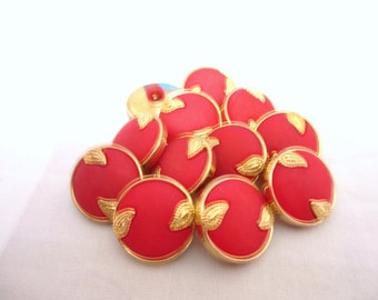 12 Vintage Retro 20mm Orange Red Tonr Round Shank Button with Gold Tone leaves Design rim