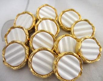 12  Vintage 18 mm Gold Rim Shank Button with Milky White Center