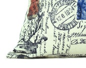 Decorative Pillows Decorative Covers  Home Decor Accent Pillow 16x16 Pillow Toss Pillow  Postage Shabby Chic Pillows Shabby Decor Country