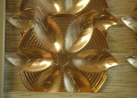Retro 1960s Barware Mad Men Style Gold Aluminum Coasters New in Package Vintage Cocktail Bar Flower Pattern Unusual