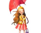 Rainy Day Children Watercolor Print Illustration Girl Umbrella Autumn