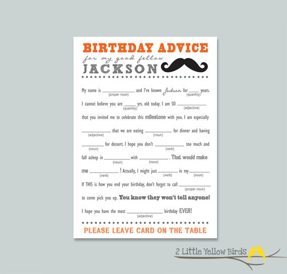 Birthday Advice Card - Mad Libs (Mustache)