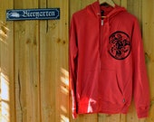 Celtic Dog Hoodie. Snuggly Warm. Red. Sizes S, L, XL Screen Printed Men's