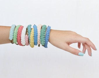Wrap leather bracelet - rope jewelry - rope bracelet - one custom color suede bracelet - set bracelets - eco-friendly wedding