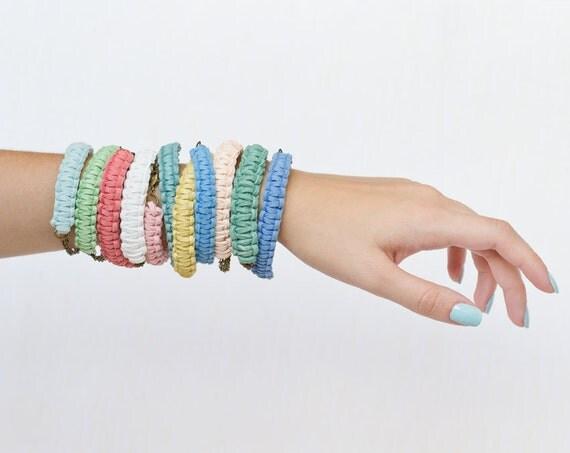 Three custom colors suede bracelets - eco-friendly wedding - vegan leather jewelry - wrap bracelet - braided bracelet - leather wrap