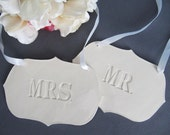 Mr. and Mrs. Wedding Sign Set to Hang on Chair and Use as Photo Prop