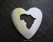Africa Cut Out Heart Metal Stamping Blank / Hand Stamp Shape Disc / Handstamping Supply / Custom Design Blank