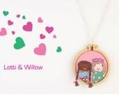 Embroidery hoop necklace - pink, spearmint, blue, crown, bows, plaits - miniature hoop design - LOTTI & WILLOW - love dandelyne