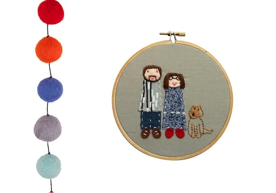 Customised family portrait of 3 - embroidered and appliqued design - made to order by dandelyne