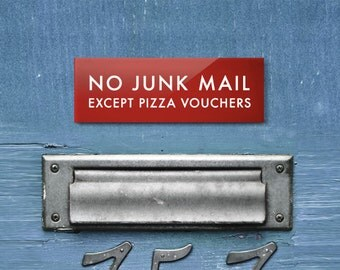 Funny Mailbox Sign. No Junk Mail Except Pizza Vouchers