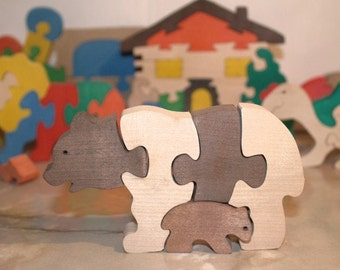 Best price Personilazed Wooden Puzzle Bears. Black friday. Handmade puzzle game. Kids toy. Wooden eco friendly toys for children.