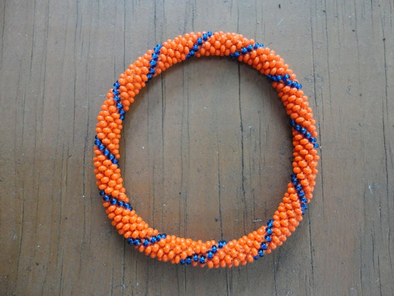 Vibrant Orange  and  Metallic Blue Crochet Beaded Bracelet -  Orange,and metallic blue bracelet, fall bracelet