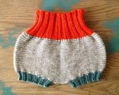 Hand Knit Baby Balloon Diaper Cover/Soaker in Orange, Teal & Grey Peruvian Wool (0-3 months)///READY TO SHIP///
