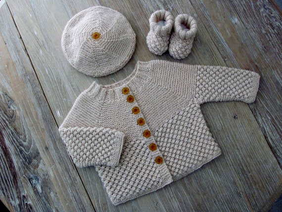 """Hand Knit """"Blackberry"""" Stitch Baby Sweater, Hat & Booties Set in Cream Alpaca with Vintage Amber Pressed Glass Buttons (6-12 months)"""