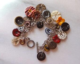 vintage and antique button charm bracelet