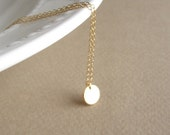 Tiny Gold Disc Necklace, simple gold necklace, petite dainty everyday Jewelry, delicate necklace
