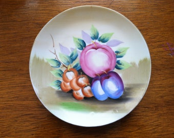 vintage porcelain hand painted fruit hanging wall plate Betson 1930s 1940s