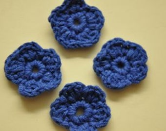 10pcs crocheted flower and vintage blue
