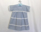 Handmade Girls Gathered Dress with Lace Trims Baby Blue and White Toddler Dress Size 4 Dress