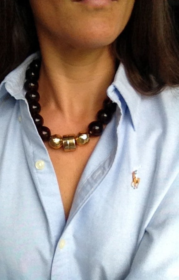 The Maiden necklace. Gold tortoise shell necklace.  Classic. Modern. Preppy.
