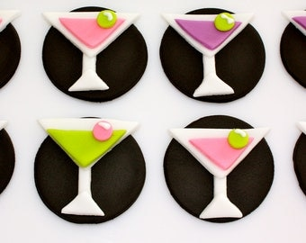 MARTINI ALCOHOL -  Fondant Cupcake, and Cookie Toppers - 1 Dozen