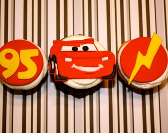 Fondant RED RACE CAR  -  Cupcake, and Cookie Toppers - 1 Dozen