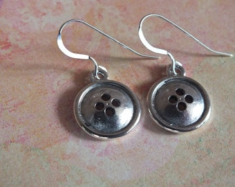 Button, Quilt Earrings - Sterling Silver Earrings with a knitting, sewing, quilting theme