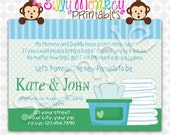 Pamper and Wipes Baby Shower Invitation or Thank You Card DIY - 372