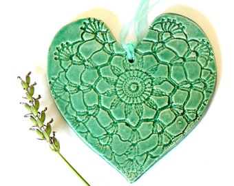 Christmas Decoration Ceramic Heart Ornament Mint Pottery Wedding Gifts Vintage Lace Pattern