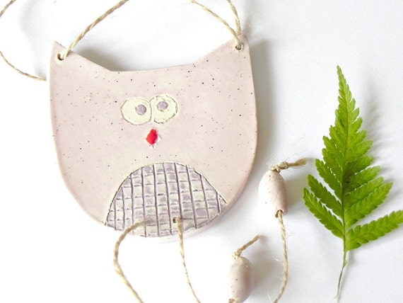 Pink Purple Owl Girl Checkered Rock Eco Friendly Ceramic Ornament
