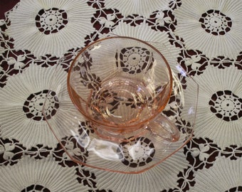 Vintage Pink Cambridge Glass Tea Cup and Saucer