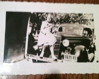 Girl on a Car - 1941 Black and White Photo