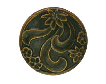 3 Floral 3/4 inch ( 20 mm ) Metal Buttons Antique Brass Color