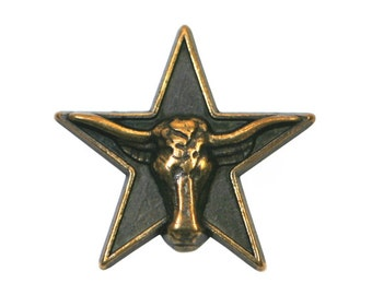 2 Texas Longhorn Star 1 inch ( 25 mm ) Metal Buttons Brass Color