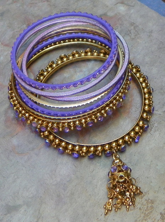Vintage Bohemian Boho Hippie Beach Purple Tribal Bangle Bracelets (Set of 8)